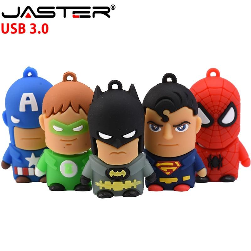 JASTER  3.0 Super Man USB Flash Drive Spider Man Batman Captain America Pendrive 4gb 8gb 16gb 32gb Memory Stick Pen Drive Gifts