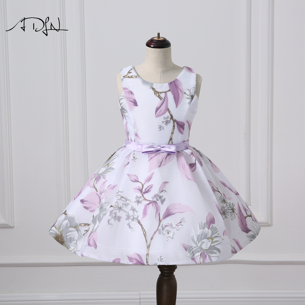 Adln Chic Scoop Sleeveless Flower Girl Dresses A Line Floral Print