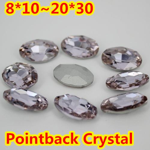 Violeta Forma Oval de Cristal Extravagante Stone Point Voltar Vidro Pedra Para A Jóia DIY Accessory.10 * 14mm 13*18mm 18*25mm 20*30mm
