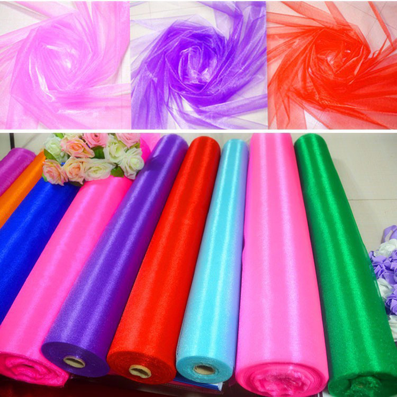 HAOCHU 0 75m Wide 20m Long Organza Fabric Crystal Sheer Organza Tulle Roll Drapes Wedding Party