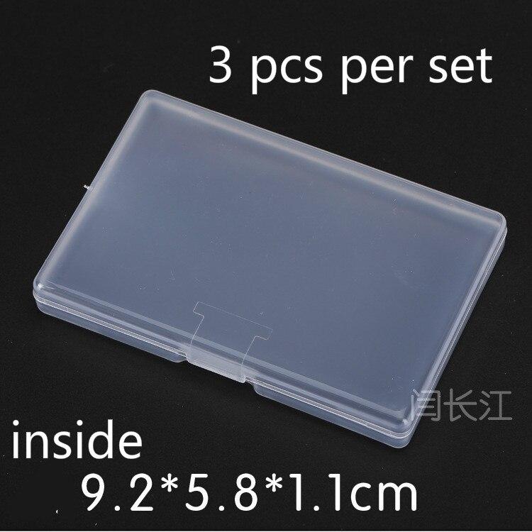 3 Pcs Flat Rectangular Small Box Transparent Plastic Box Packaging Plastic Storage Box Small Box Pp Name Card 492