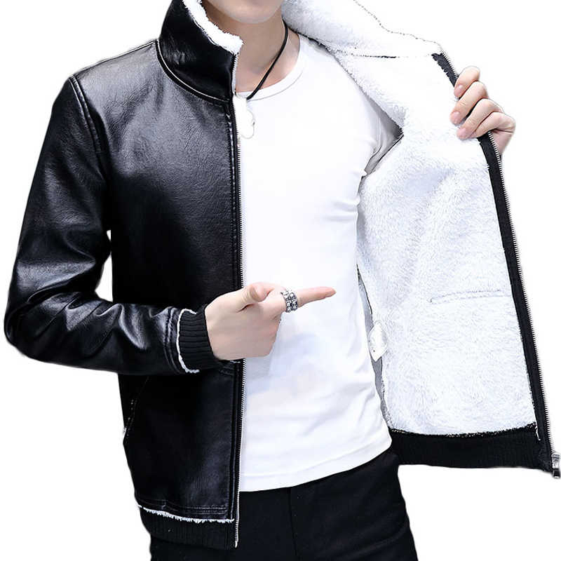 New Winter Jacket Men PU Leather Jacket Fleece Thick Warm Moto Biker Men Jacket Coat Streetwear Male Clothes