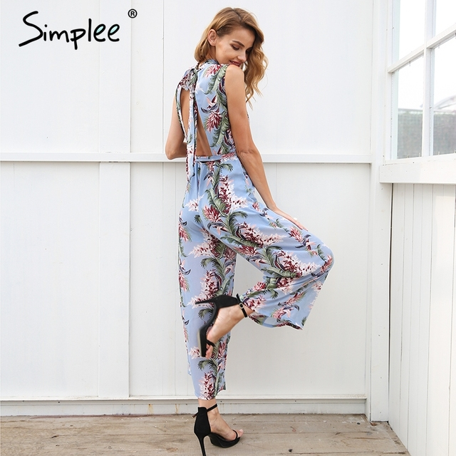 Backless boho print long jumpsuit 3