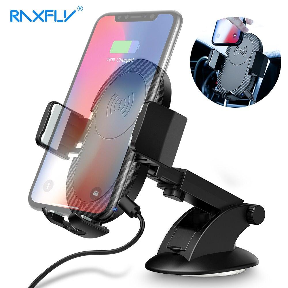 RAXFLY cargador inalámbrico para Samsung Nota 9 8 S9 S8 S7 S6 iPhone X 8 XR XS XS Max inalámbrico cargador del coche del sostenedor del teléfono del coche del respiradero de aire cargador inalambrico