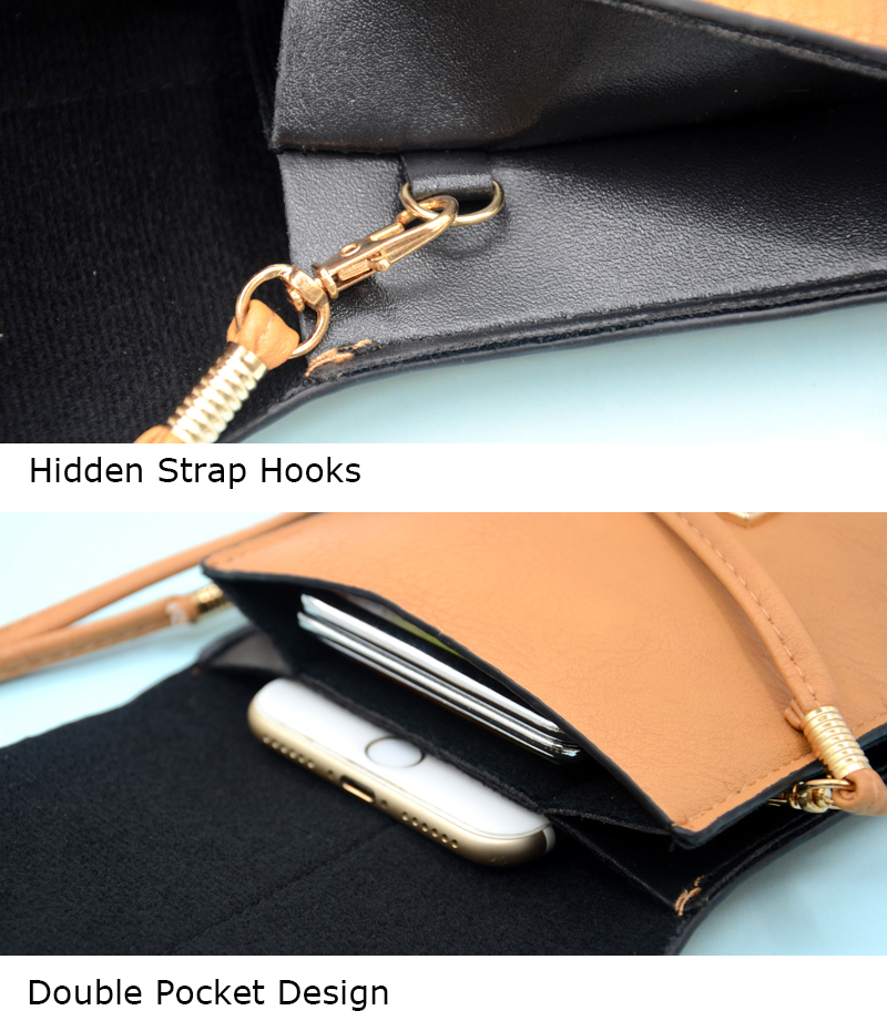 BONAMIE Functional Cell Phone Bag With Touch Screen Small Women Brown Leather Crossbody Bag Female Punk Lock Messenger Bag in Top Handle Bags from Luggage Bags