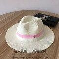 Moda duplo pó m-duas cores rosa fita strawhat sol-shading chapéu feminino cap praia elegante verão
