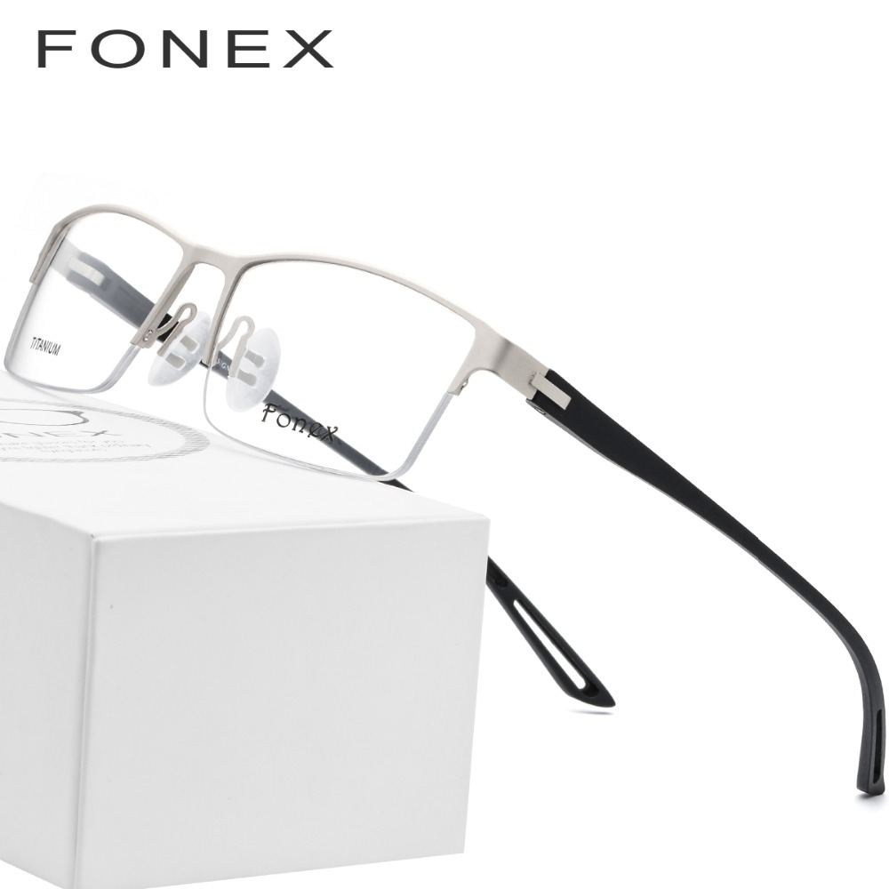 52d456406a TR90 Titanium Alloy Glasses Frame Men Semi Rimless Square Eye Glass  Prescription Eyeglasses Myopia Optical Frames Korean Eyewear