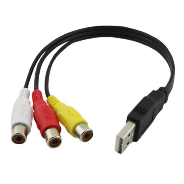 1pc の usb 雄プラグに 3 Rca メスアダプタオーディオコンバータビデオの AV の A/V ケーブル USB に RCA ケーブル hdtv テレビテレビワイヤーコード