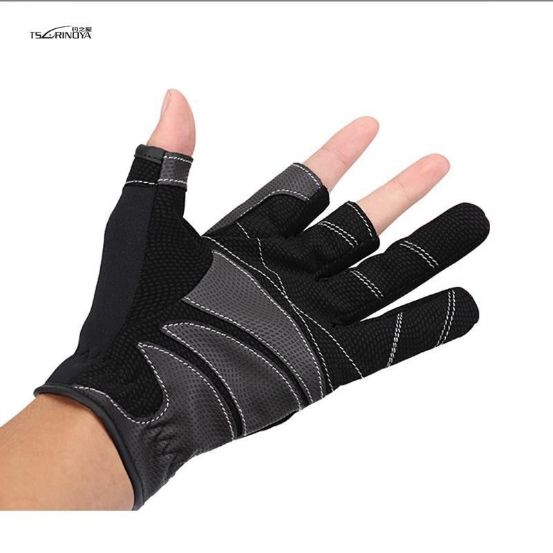 TSURINOYA guantes de pesca al aire libre antideslizantes transpirables 1 par 3 guantes resistentes al desgaste de corte de dedo