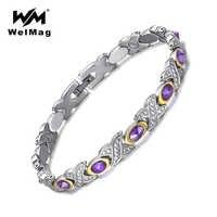 WelMag Crystal Women Stainless Steel Bracelets Bangles Bio Energy Magnetic Healing Charm Rhinestones Silver Bracelet Femme 2019