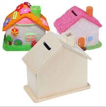 Novo 1pc madeira chalet moeda casa quarto lama branco salvar dinheiro base arte decoração crianças criança bebê diy artesanato de madeira brinquedos
