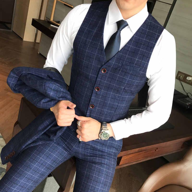 (Blazer + chaleco + pantalón) 2019 nueva moda para hombre