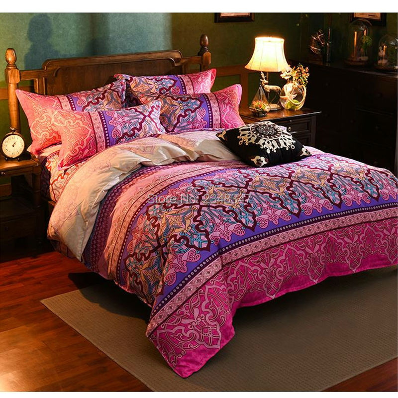 Soft Sanding Thick Ethnic Rosy Red Euro Floral 4Pc Full/Queen/King Size Bed