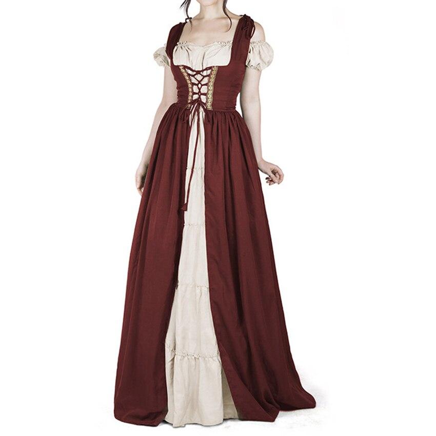 Femmes de robe vintage Médiévale courtes manches Gothique Robes Halloween Cosplay Rétro Longue Robe Oktoberfest Maid Robes
