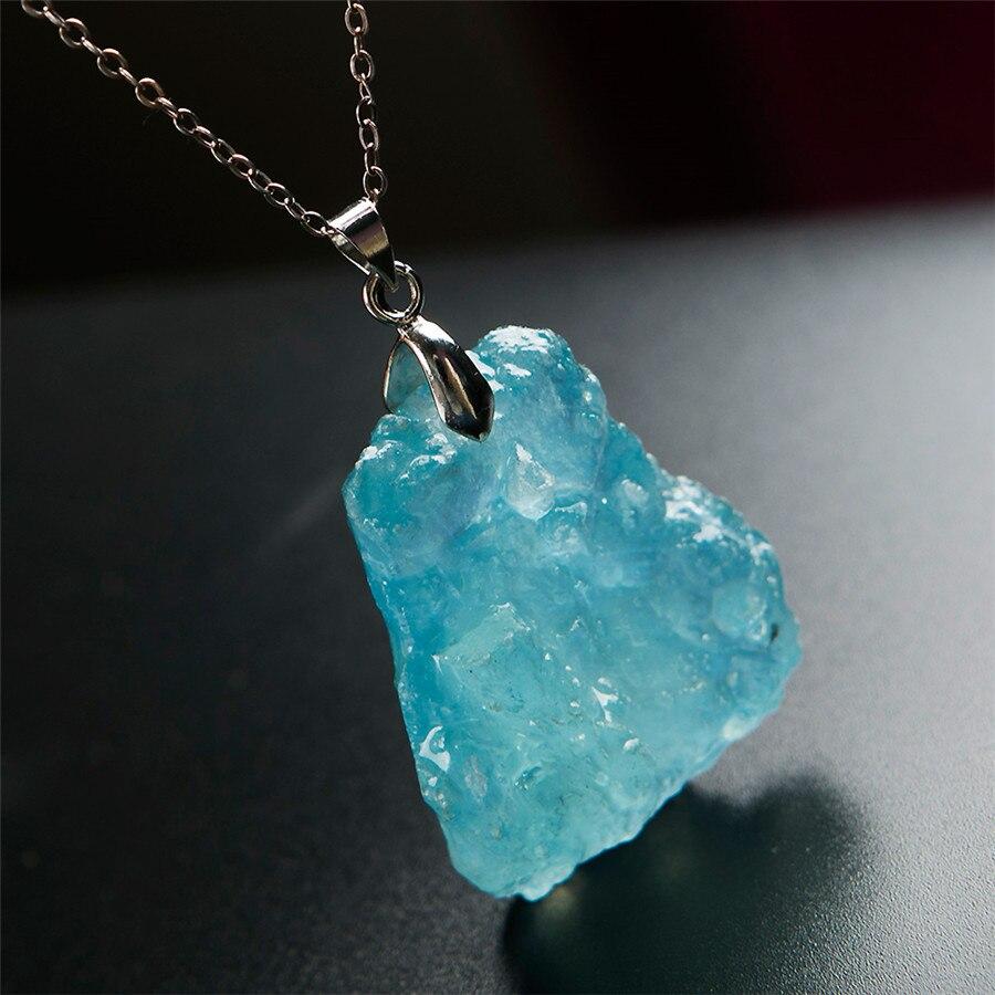 Здесь продается  Genuine Natural Blue Ocean Stone Women Healing Crystal Irregular Shape Lady Pendant 36*30*14mm  Ювелирные изделия и часы