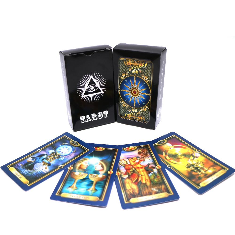 full English gilded images gold Tarot deck card game mysterious beauty tarot cards for women board game