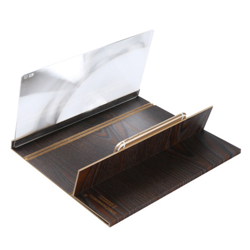 12-inch Phone Screen Amplifier with Wooden Holder to Enlarge 3D Mobile Video and Picture