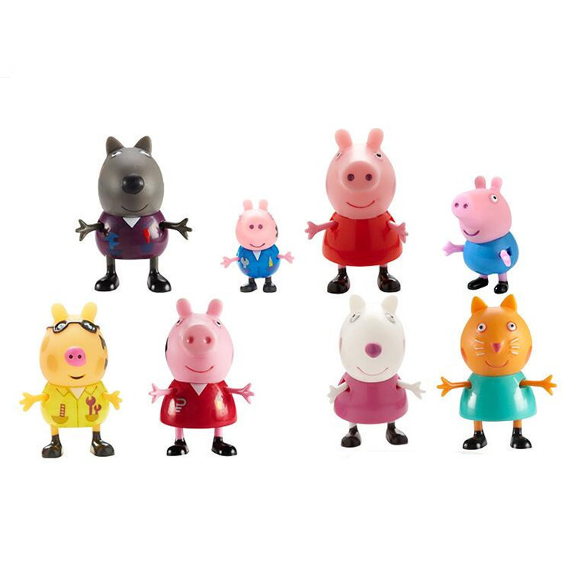 Peppa pig George friend Family Plastic PVC doll Pack Dad Mom Action Figure Original Pelucia Anime Toys Boy girl gift set