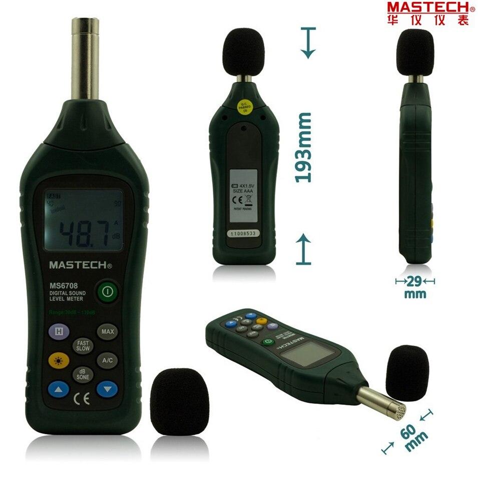 Hot Handheld LCD Digital Display 30dB ~ 130dB Digital Sound Level Meter Noise Meter DB Decibel Level Meter Tester MASTECH MS6708 ms6708 30db 130db handheld digital sound level meter price