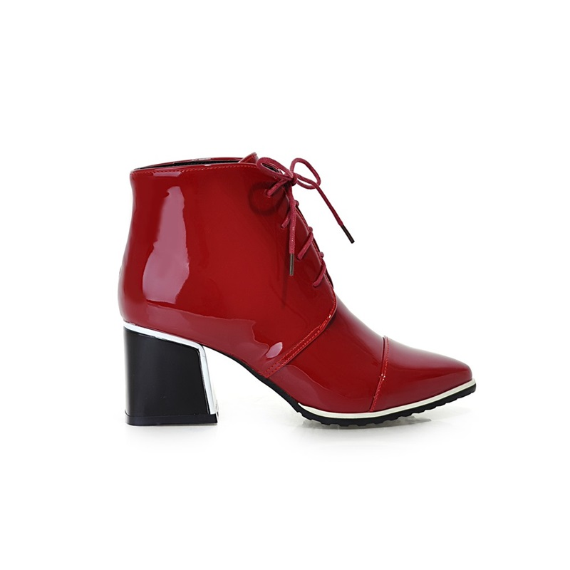 Croix Verni Chaussures Quotidienne En Loisirs Courtes white De Grossier Bandage Femmes Parti Grande Mode red Black Bottes Talon Mingdilin Taille Pointu Cuir qZvPx