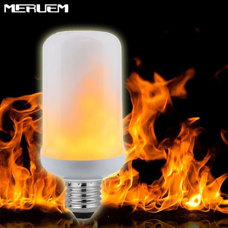 E27/E26 Flame Effect Fire Light 2835 LED Bulbs 7W Creative Xmas Lights Flickering Emulation Vintage Atmosphere Decorative Lamp