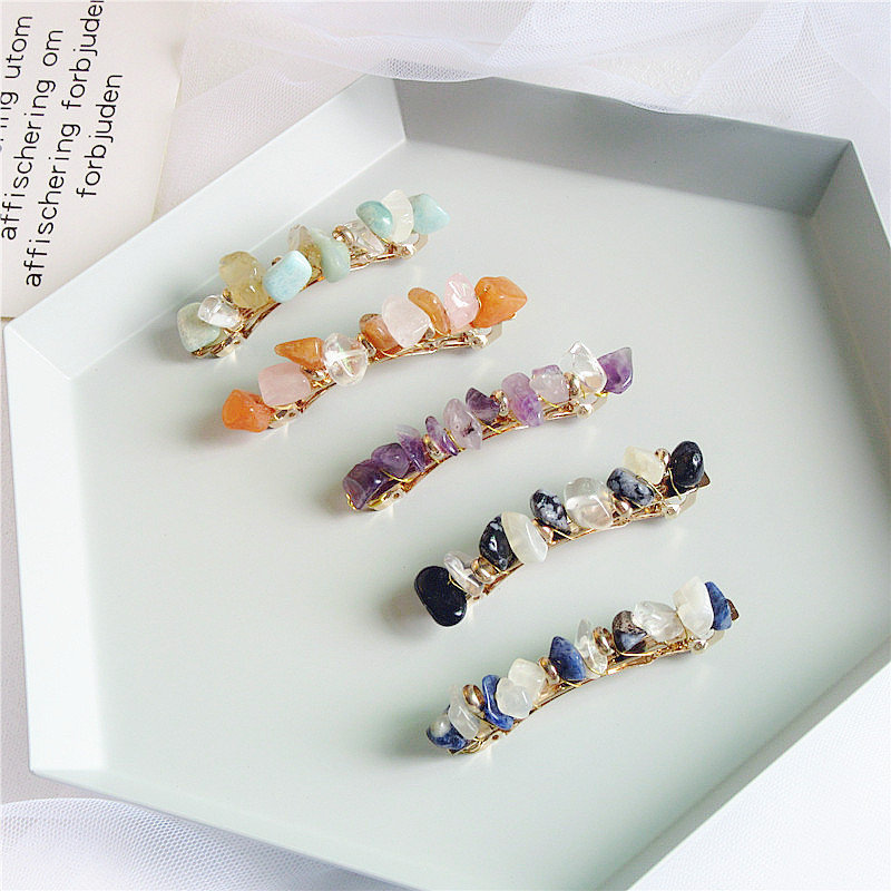 Japanese Retro Mori Pine Stone Hairpin Bang Clip Retro Alloy Temperament Spring Clip Hairclips Mori Pine Stone