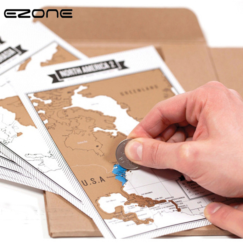 EZONE 8PCS Mini Scratch Map+1PC Travelogue Notebooks Travel World Scratch Off Foil Layer Coating World Map School Office Supply mini world mn202