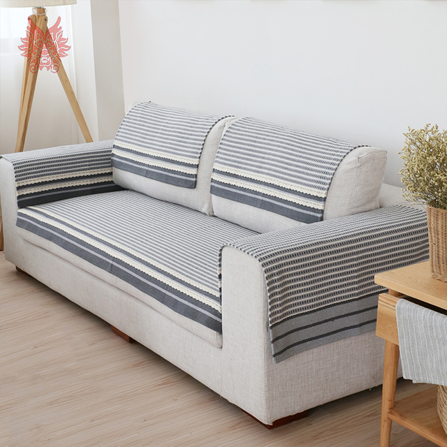 Modern Grey Striped Sofa Cover Cotton Cloth Lace Sectional Slipcovers  Canape Capa Para Sofa Four Season