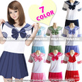 8 colors Japanese school uniforms sailor tops+tie+skirt Navy style Students clothes for Girl Plus size Lala Cheerleader clothing