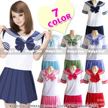 Women Seifuku Japanese school uniform Sailor suit tops+tie+skirt korea Navy style for Student Girl Lala Cheerleader clothing(China)