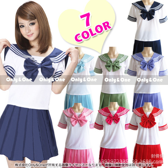 Women Seifuku Japanese school uniform Sailor suit tops+tie+skirt korea Navy style for Student Girl Lala Cheerleader clothing