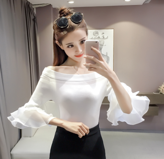 Autumn Spring Girls Slash Neck Off-shoulder Patchwork Knitted Flare Half Sleeve Sweaters Pullovers Patch Chiffon Tops Female