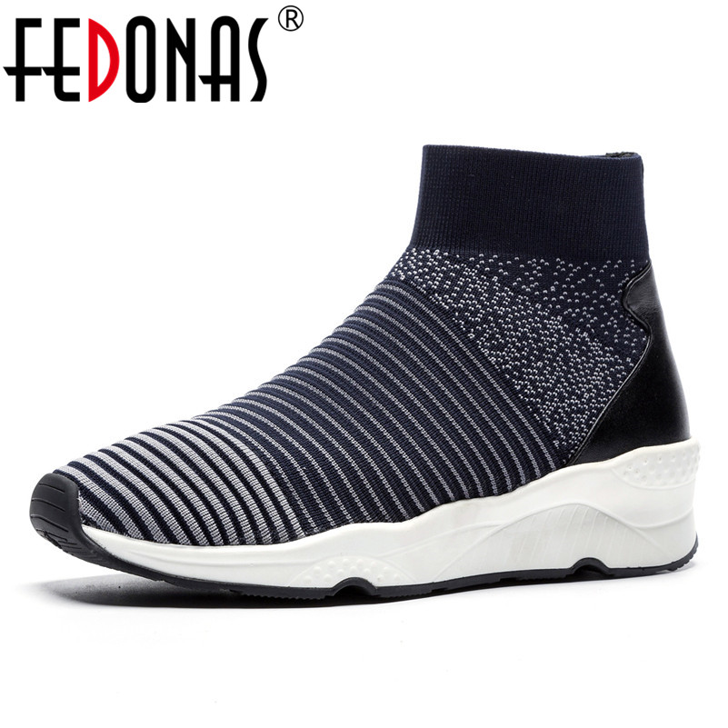 FEDONAS Fashion Brand Ankle Boots Wedges Platforms Socks Boots Round Toe Breathable Casual Shoes Woman New Sport Basic BootsFEDONAS Fashion Brand Ankle Boots Wedges Platforms Socks Boots Round Toe Breathable Casual Shoes Woman New Sport Basic Boots