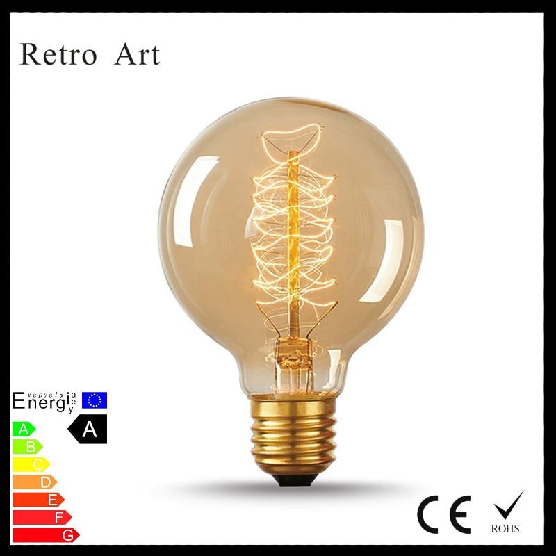 G80 globe filament edison light bulbs 40W E27 retro vintage style spiral filament edison bulb
