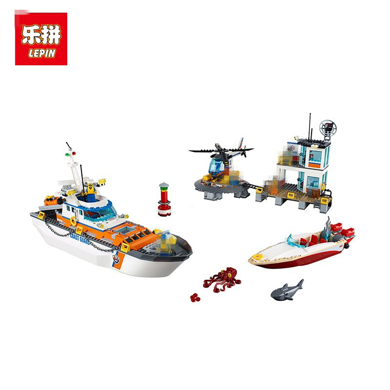 Lepin 02081 855Pcs City Series Police Coast Guard Headquarters Base Building Blocks Toy DIY Educational Toys цена и фото