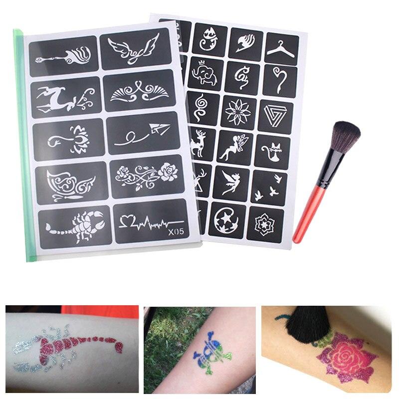 Henna Tattoo Kits For Kids: 446pcs Glitter Tattoo Stencil With Painting Brush Set For