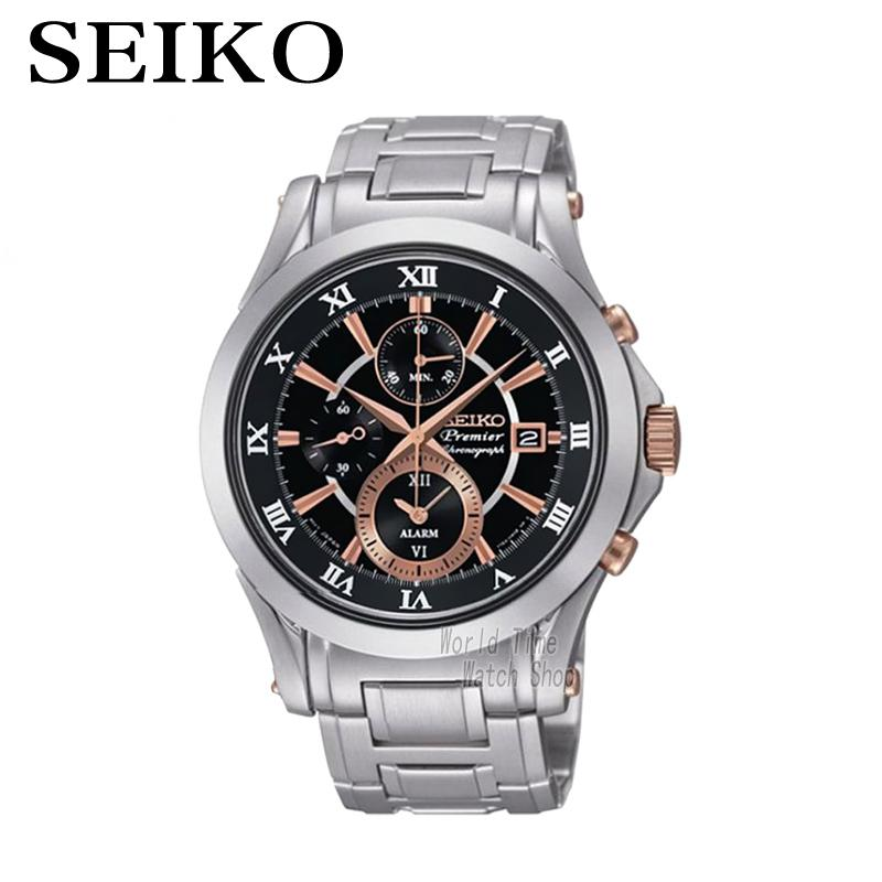 SEIKO Watch Premier Chronograph Chronograph Calendar Waterproof quartz men's watches SNAF20P1 seiko watch premier series sapphire chronograph quartz men s watch snde23p1
