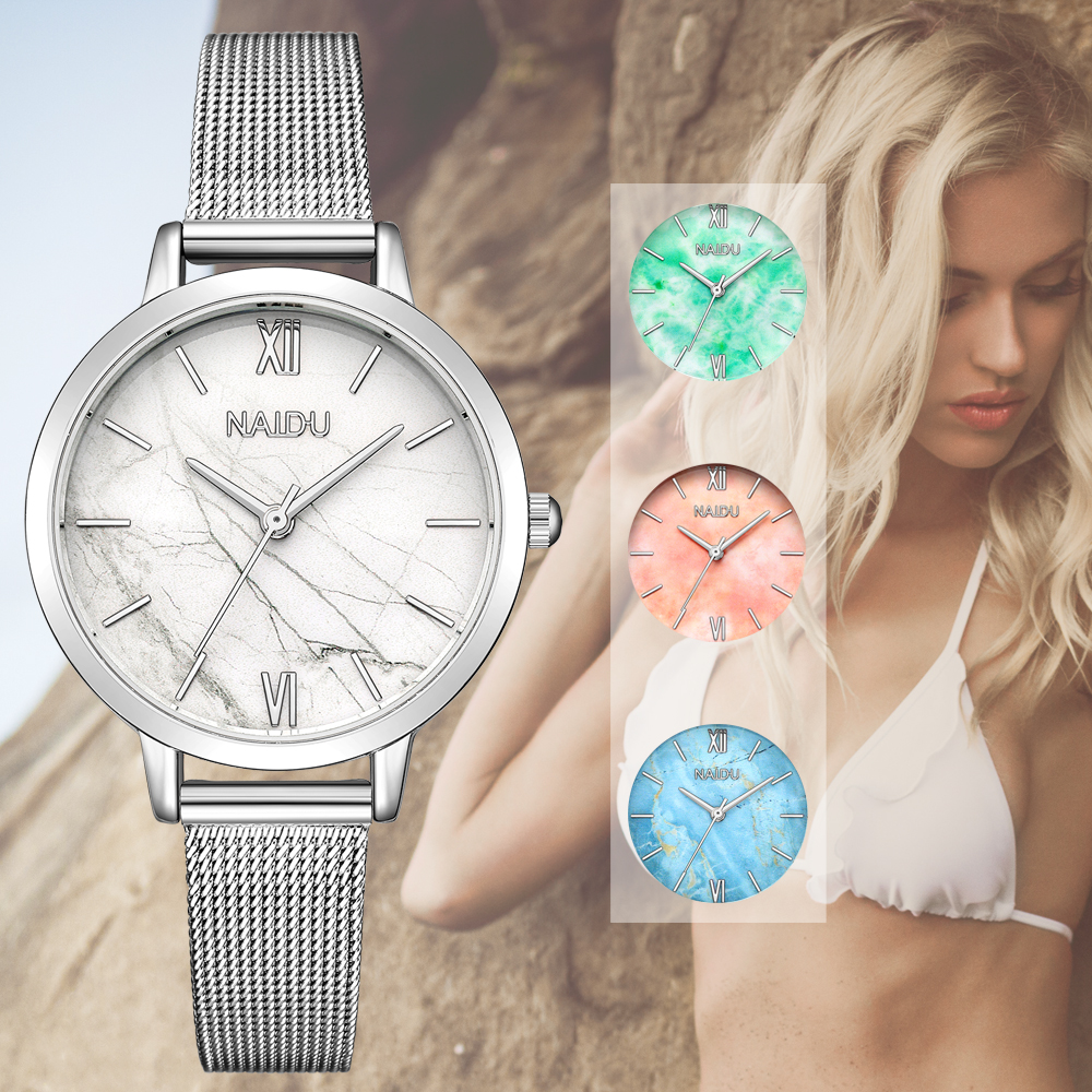 Quartz Dress Watch Women Luxury Top Brand Stainless Steel Mesh Band Wrist Watch Silver Women's Jewelry Watches Ladies Girl Clock
