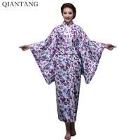 New Classic Traditional Japanese Women Yukata Kimono With Obi Stage Performance Dance Costumes One Size HW044