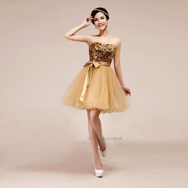 Vestidos de fiesta dorados baratos