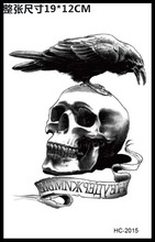 Body Art Beauty Makeup Scary Crow and Skull Waterproof Temporary Tattoo Stickers