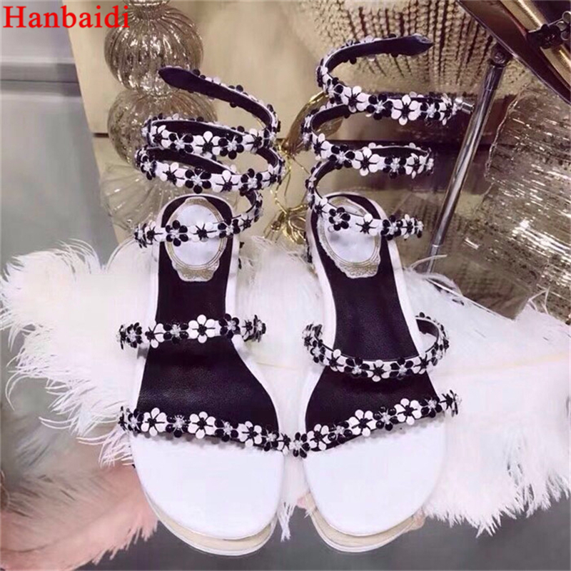 Hanbaidi Fashion Small Flowers Decor Women Summer Sandals Runway Peep Toe Serpentine Flats Shoes Party Dress Shoes Zapatos Mujer