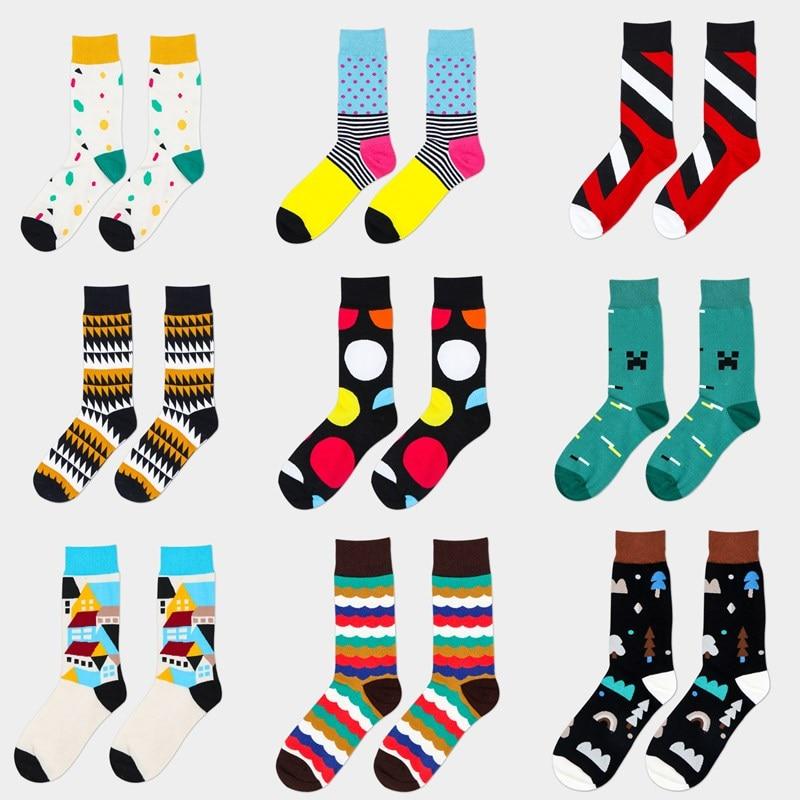 6 Pairs men crew cotton happy socks 30 Colors British style striped pattern harajuku designer brand fashion novelty art funny