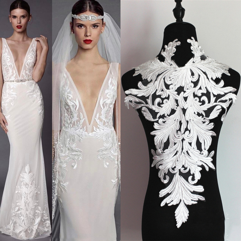 Off-White V-Neck Lace Applique Embroidery Floral Appliques Trims Collar Patch for Wedding Dresses Gown Costumes