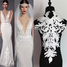 Off White Lace Applique Neckline Collar Appliques Embroidery Lace Trim Fabric Cloth Sewing Patchwork DIY Craft For Wedding dress