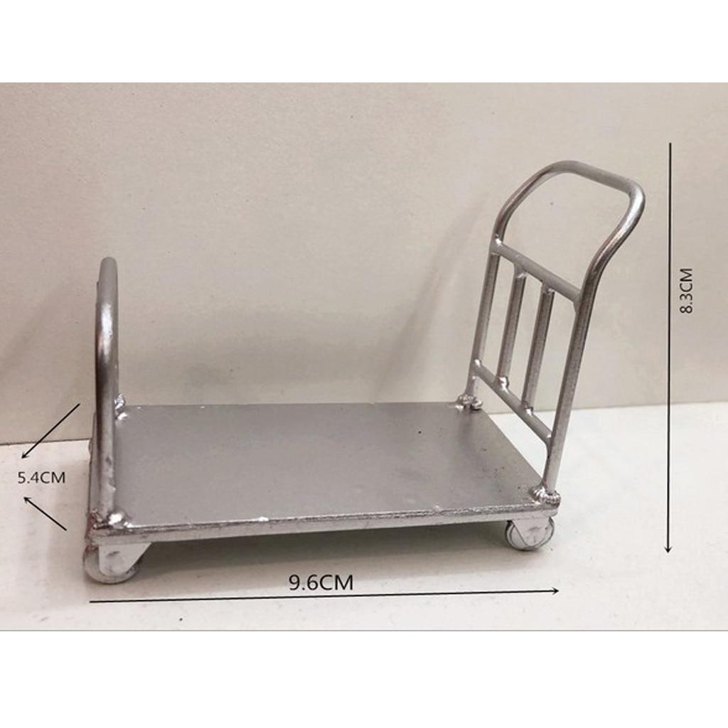 1:12 Dollhouse Miniature Garden Metal Cart Furniture Pretend Play Toys Decor XS