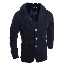 2016 new winter men's fashion casual single breasted decorated hoodies jacket / male slim popular youth coat