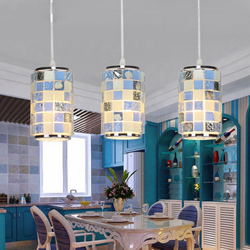 T Mediterranean Sea LED Restaurant Pendant Light 3 lights Simple Fashion Crystal Lamps For Home Livingroom Bedroom DHL Free
