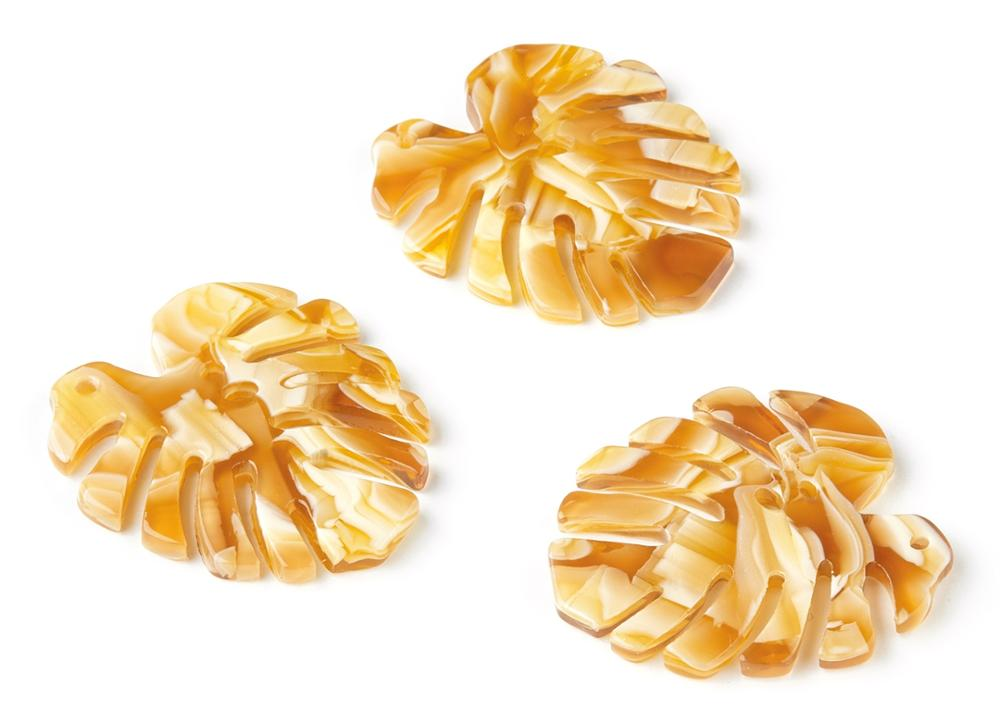 Acetate Acrylic Charms - Acetate  Earrings - Leaf Shaped Charms - Jewelry Accessories - 6pcs/lot - 32.98x30.5x2.66mm - AC1181