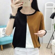 Summer Casual Cotton T Shirt Women Tshirt Patchwork T-shirt Tops Plus Size XXXL Femme Camisetas Mujer Verano